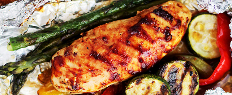 Barbecue Chicken and Vegetables in foil